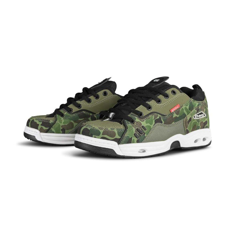Globe CT-IV Classic Skate Shoes - Green Camo / White