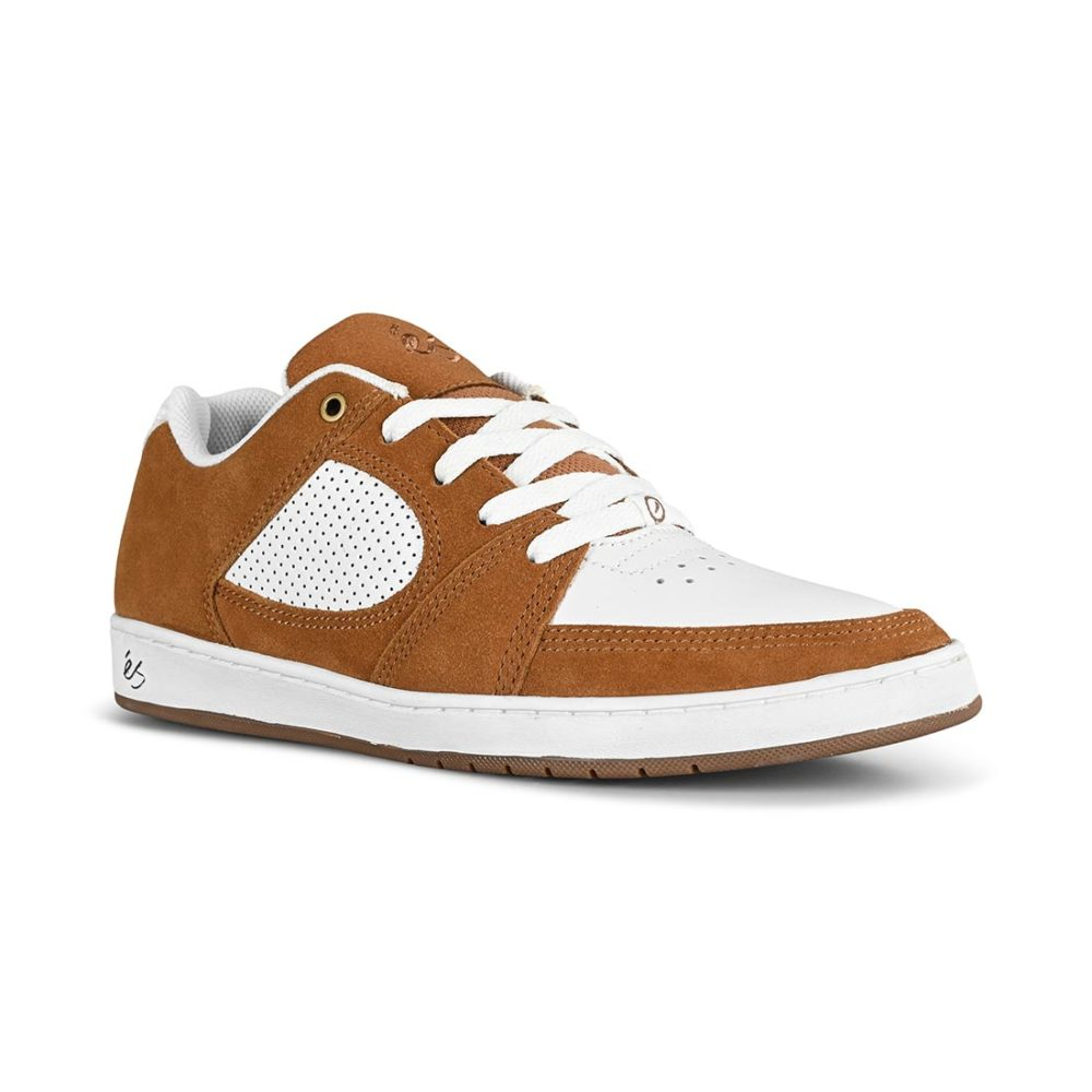 eS Accel Slim Skate Shoes - Brown / White