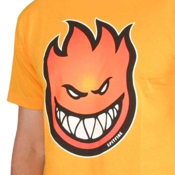 Spitfire Bighead Fade Fill S/S T-Shirt - Gold / Red-Orange Fade