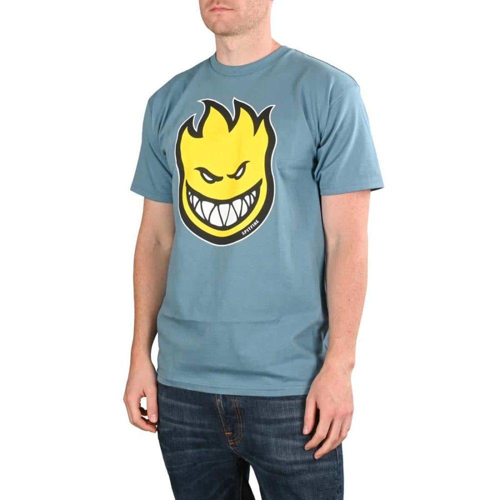 Spitfire Bighead Fill S/S T-Shirt - Slate / Yellow
