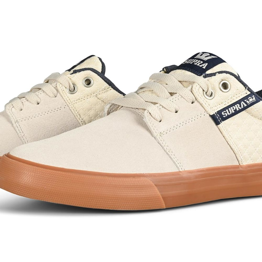 Supra Stacks Vulc II Skate Shoes - Bone / Navy / Gum
