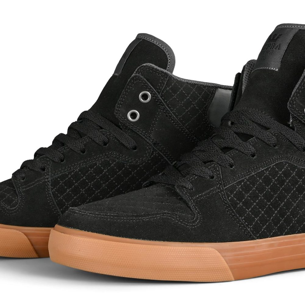 Supra Vaider High Top Shoes - Black / Dk Grey / Gum