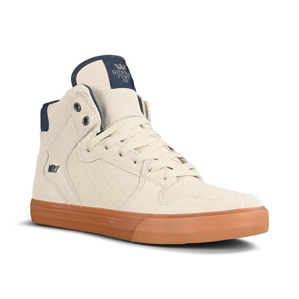 Supra Vaider High-Top Shoes - Bone / Navy / Gum