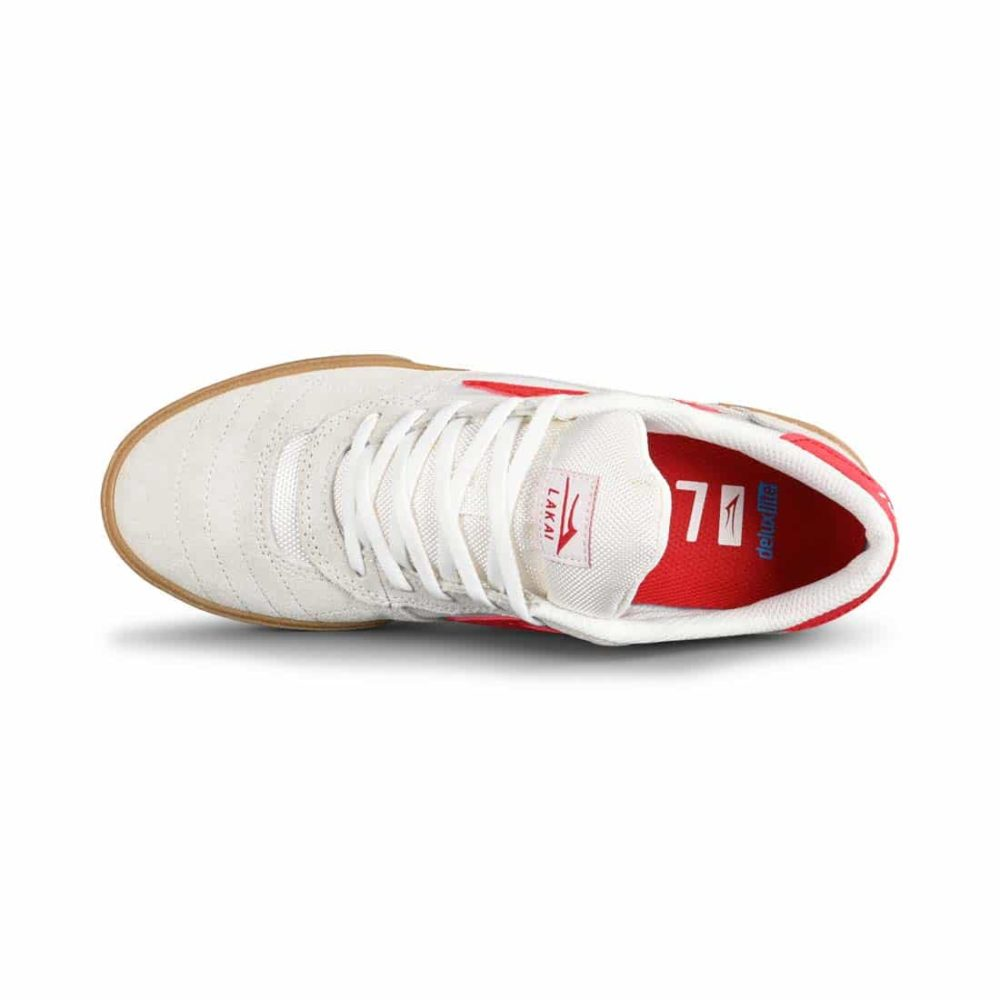 Lakai Cambridge Skate Shoes - White / Red Suede