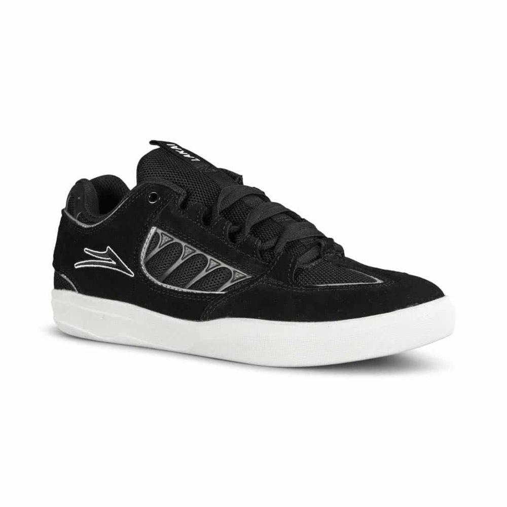 Lakai Carroll Skate Shoes - Black White Suede