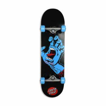 "Santa Cruz Screaming Hand 8"" Complete Skateboard - Black / Blue"