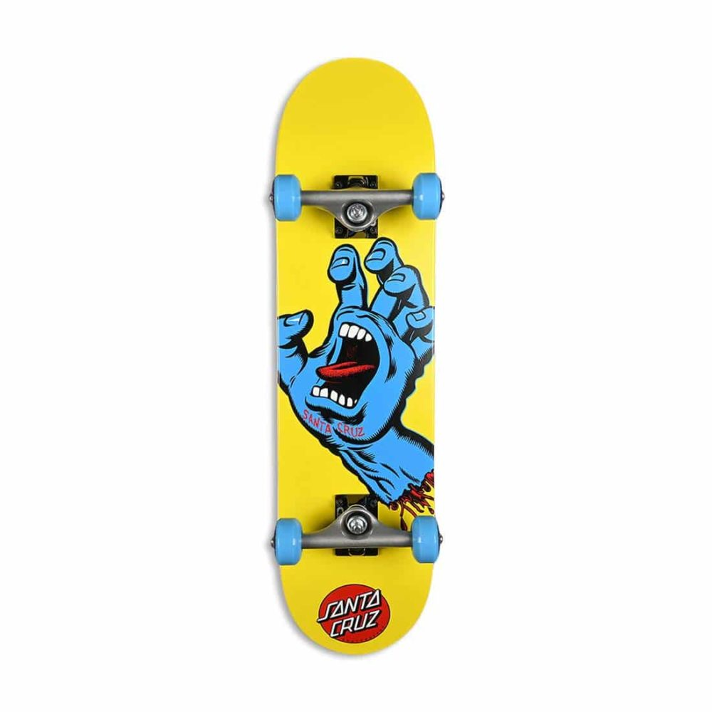 "Santa Cruz Screaming Hand Mini 7.75"" Complete Skateboard - Yellow"
