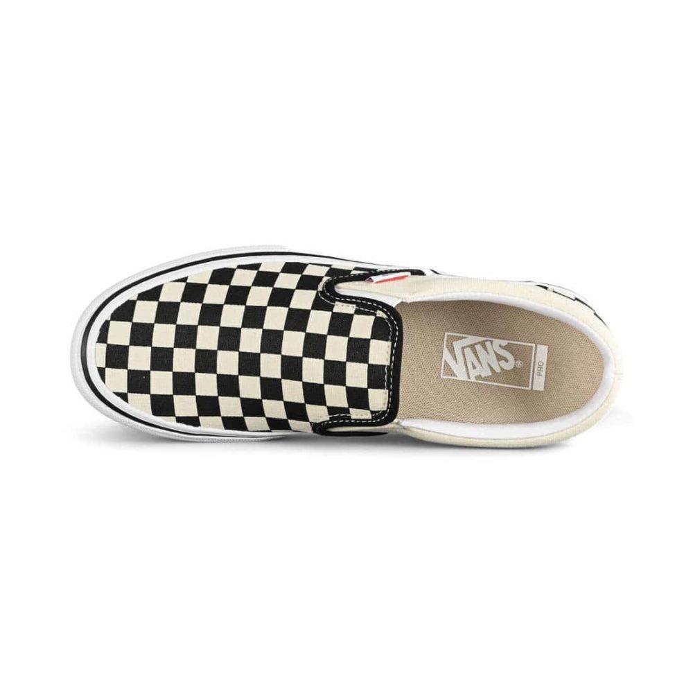 Vans Slip-On Pro Skate Shoes - Black / White Checkerboard