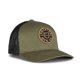 Brixton Crest MP Mesh Back Trucker Cap - Military Olive