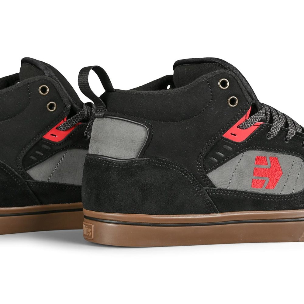 Etnies Agron High-Top Shoes - Black / Grey / Red