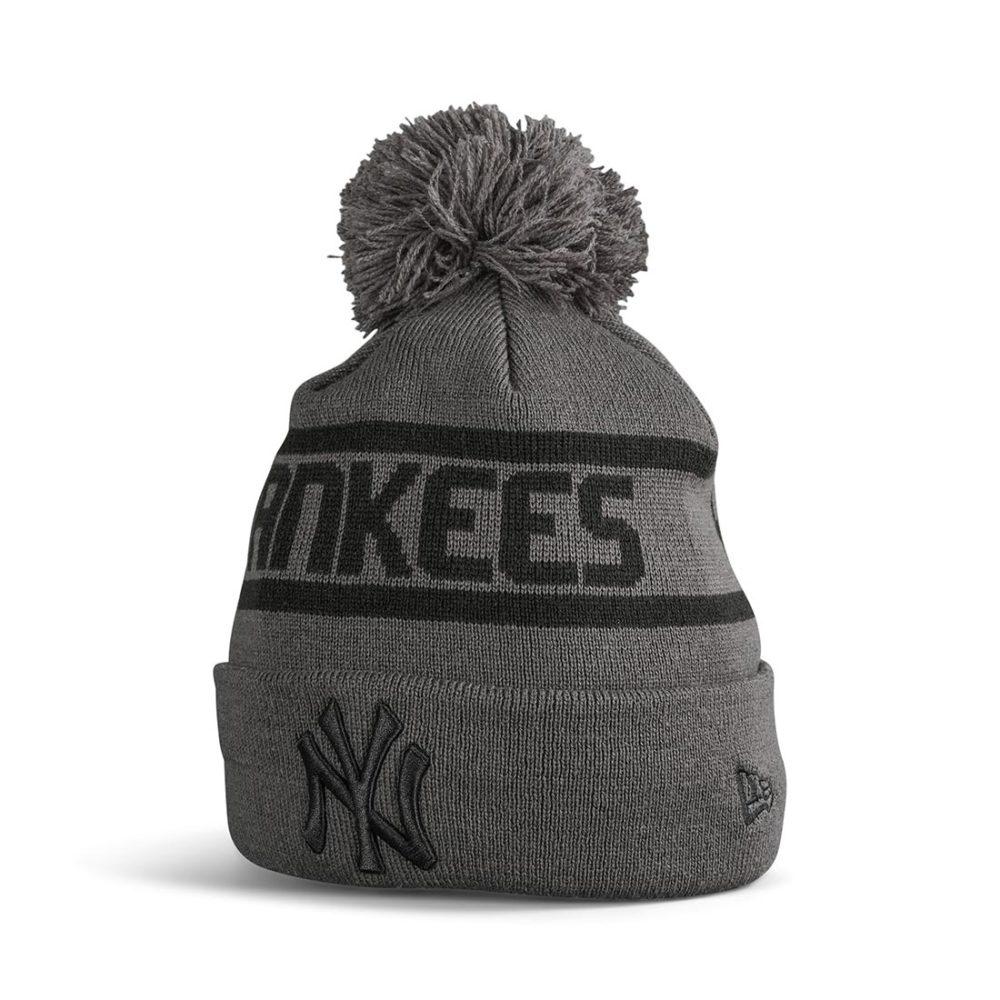 New Era NY Yankees Jake Bobble Cuff Knit Beanie - Grey