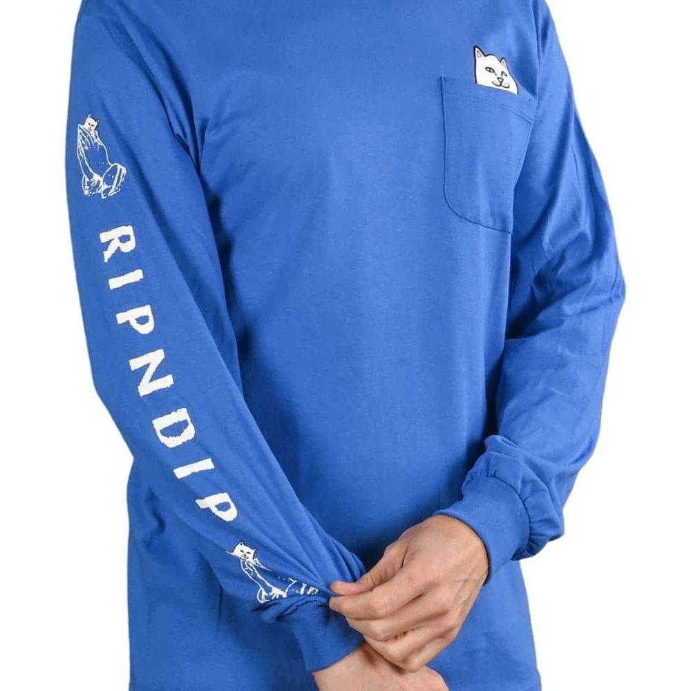RIPNDIP Lord Nermal L/S Pocket T-Shirt - Royal Blue