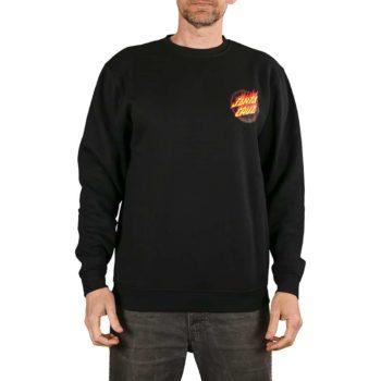 Santa Cruz Flaming Japanese Dot Crew Sweater - Black