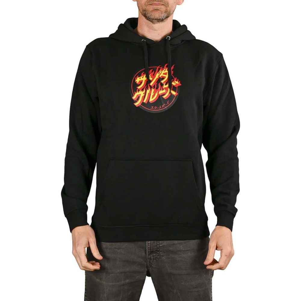 Santa Cruz Flaming Japanese Dot Pullover Hoodie - Black