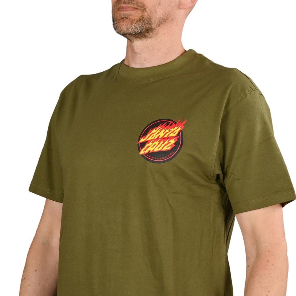 Santa Cruz Flaming Japanese Dot S/S T-Shirt - Army Green
