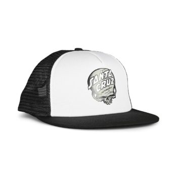 Santa Cruz O'Brien Skull Mesh Back Trucker Cap - White / Black
