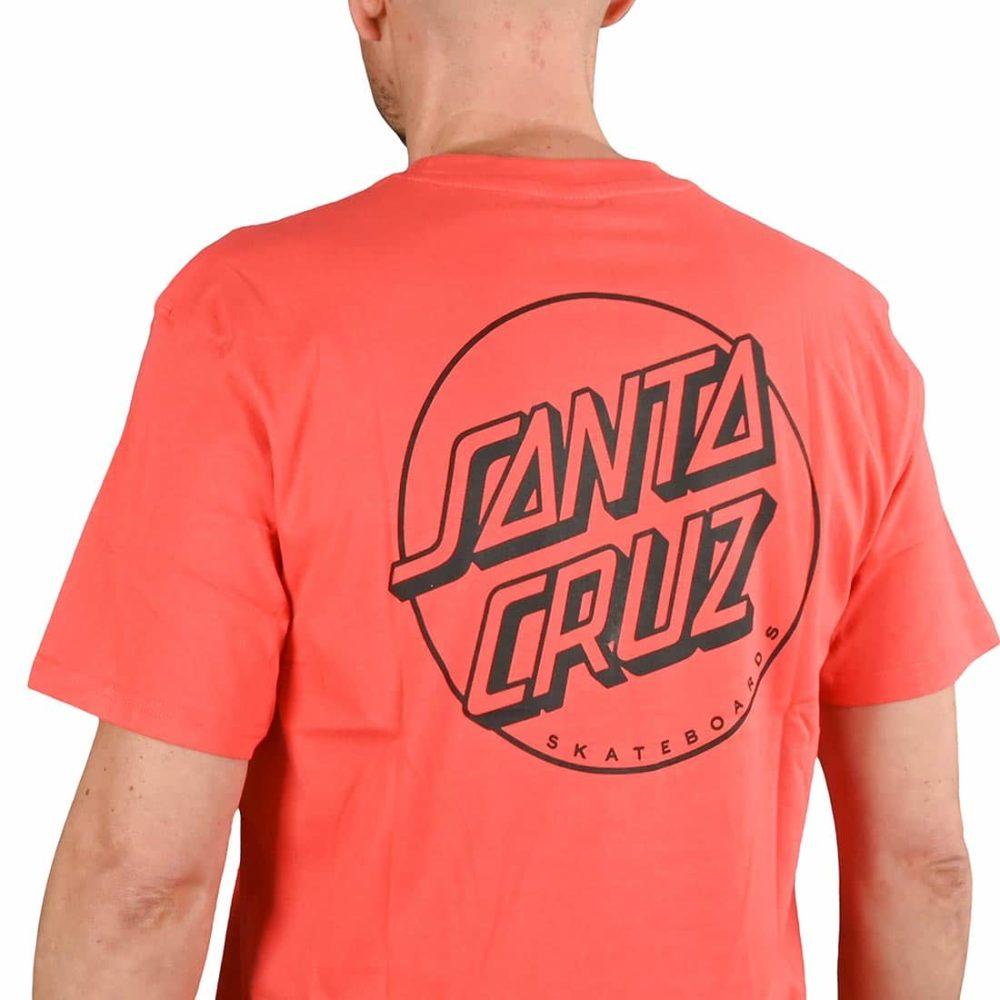 Santa Cruz Opus Dot Stripe S/S T-Shirt - Hot Coral