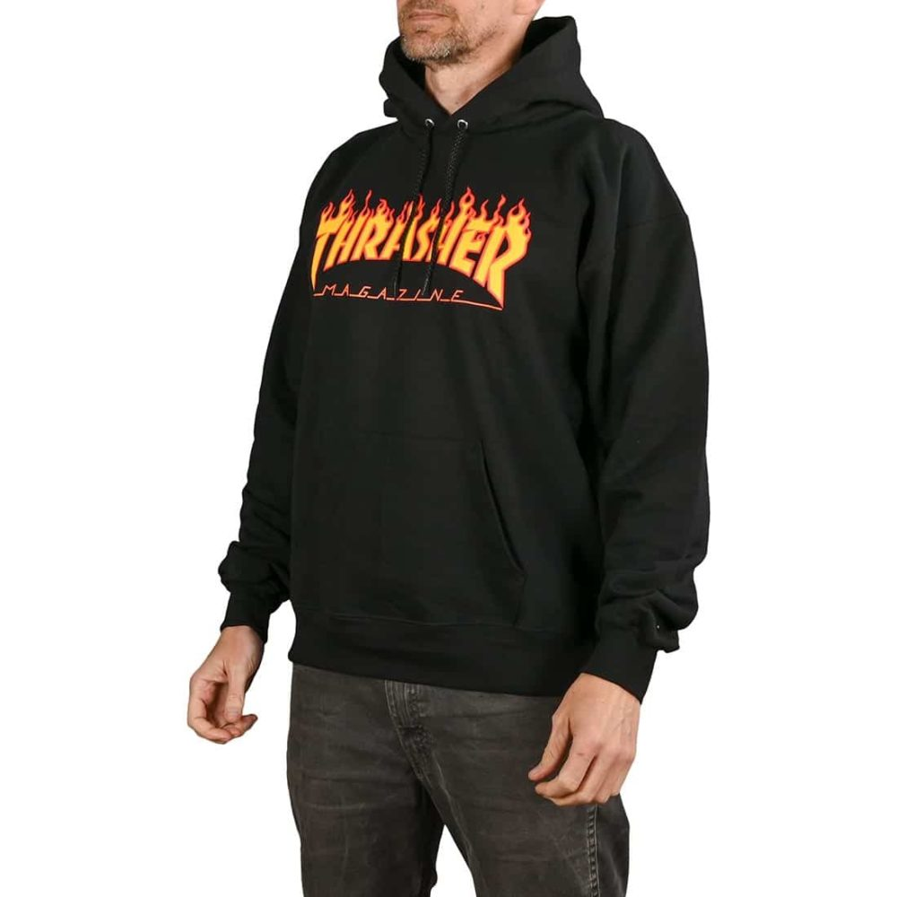 Thrasher Flame Logo Pullover Hoodie - Black