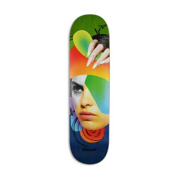 "Almost Face Collage R7 8.25"" Skateboard Deck - Blue / Green"