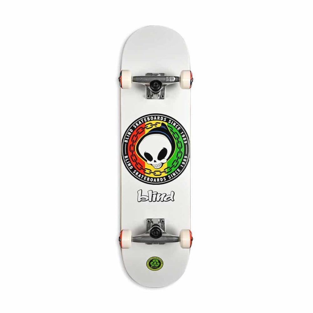 """Blind Rasta Reaper FP 8.125"""" Complete Skateboard - White"""