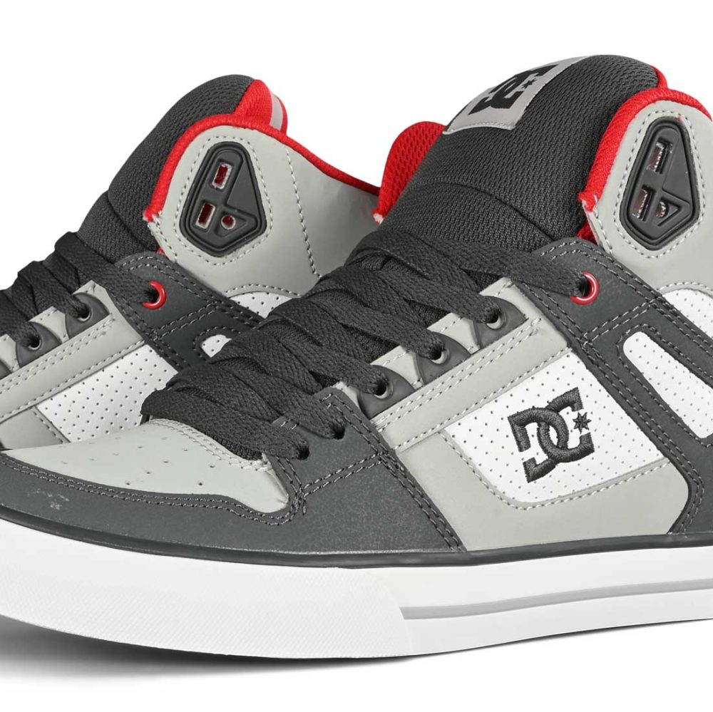 DC Pure High Top WC Skate Shoes - Grey / Red / White