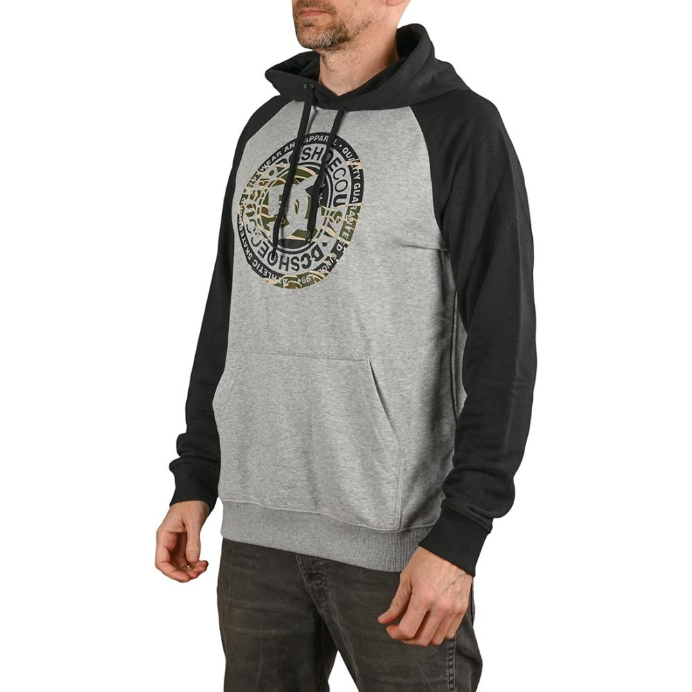 DC Shoes Circle Star Pullover Hoodie - Grey Heather / Black