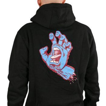 Santa Cruz Screaming Hand Strip Pullover Hoodie - Black