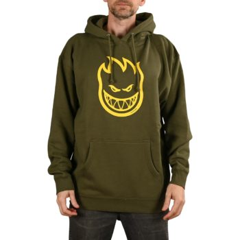 Spitfire Bighead Pullover Hoodie - Army / Yellow