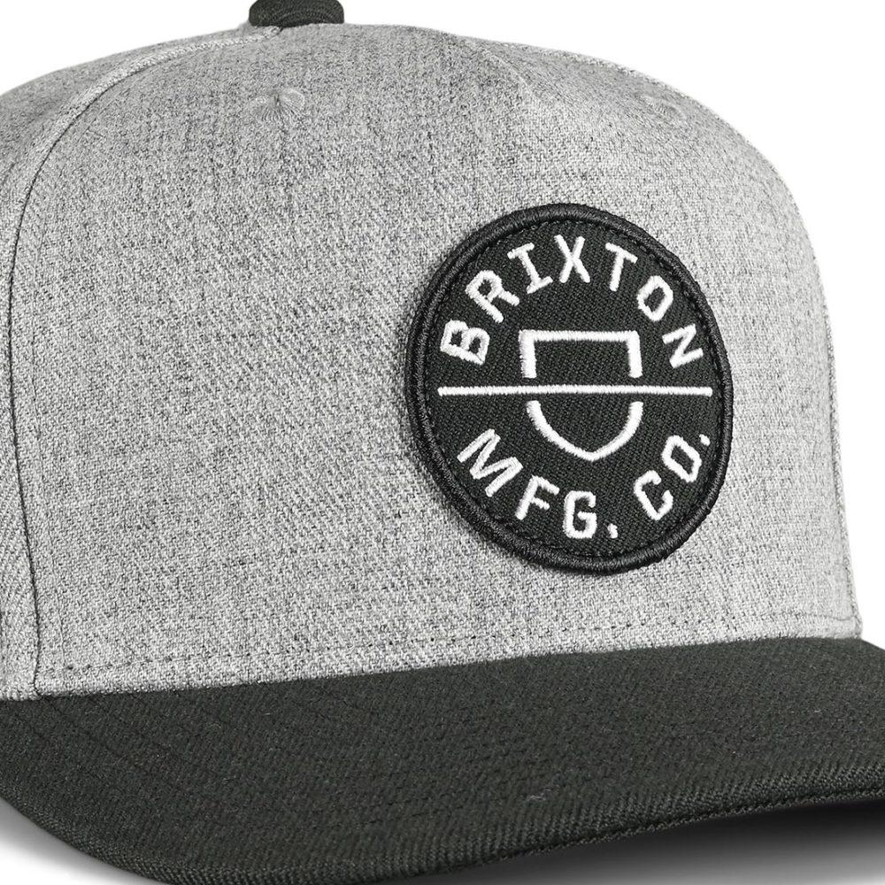 Brixton Crest C MP Snapback Cap - Heather Grey / Black
