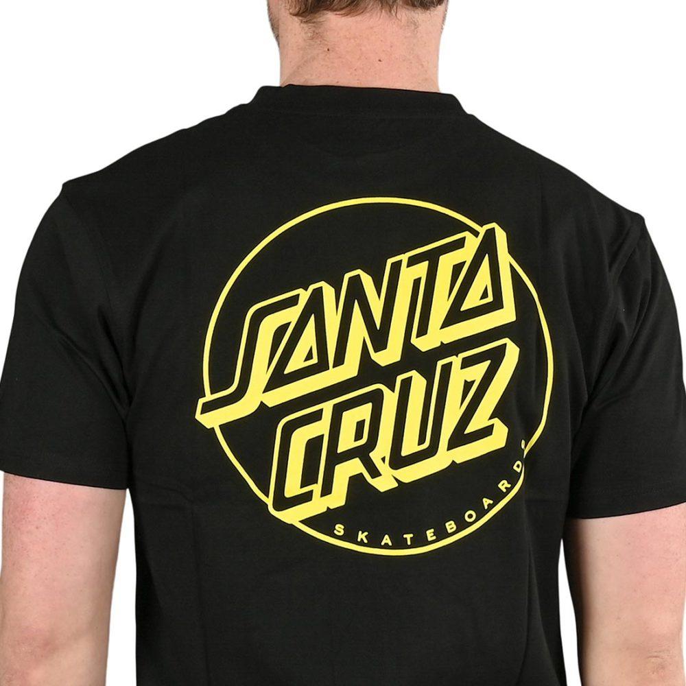 Santa Cruz Opus Dot Stripe S/S T-Shirt - Black / Yellow