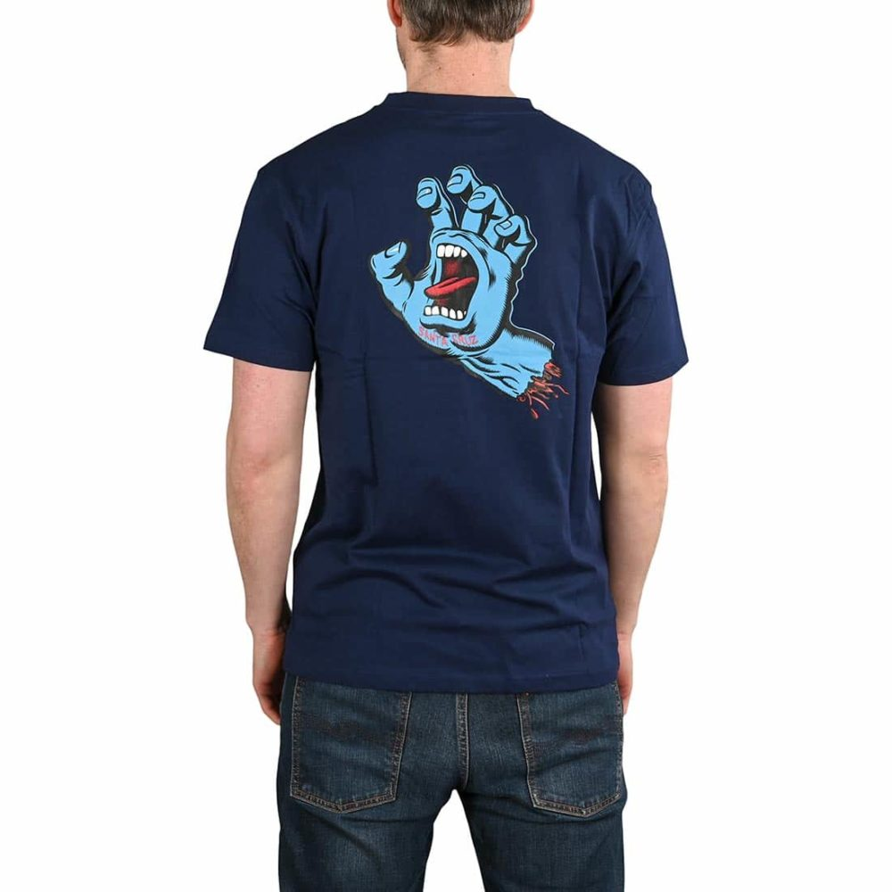 Santa Cruz Screaming Hand Chest T-Shirt - Dark Navy