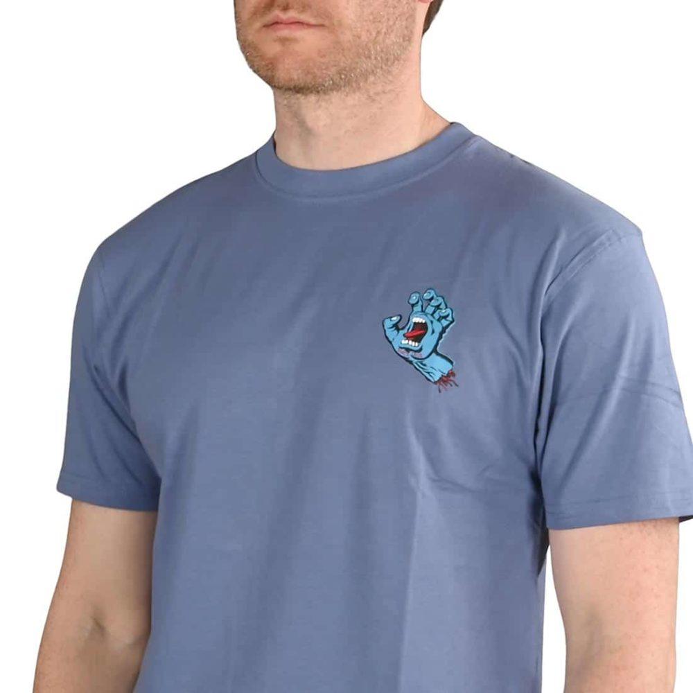 Santa Cruz Screaming Hand Chest T-Shirt - Washed Navy