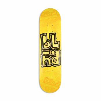 "Blind OG Stacked Stamp RHM 7.75"" Skateboard Deck - Yellow"