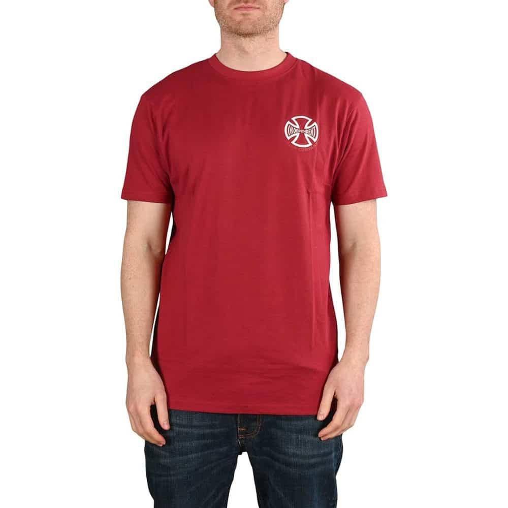 Independent CBB Cross Spade S/S T-Shirt - Maroon