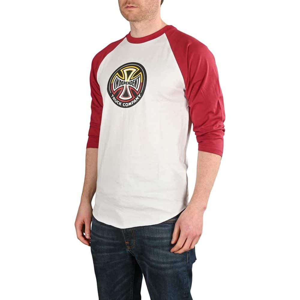 Independent Split Cross 3/4 Baseball T-Shirt - Maroon / White