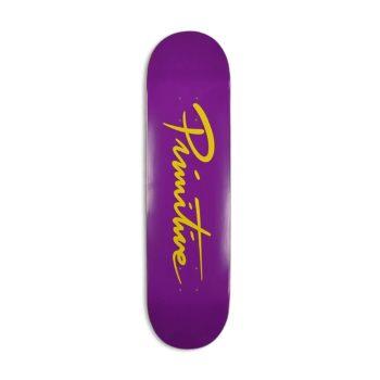 "Primitive Nuevo Script 8.25"" Skateboard Deck - Purple / Gold"