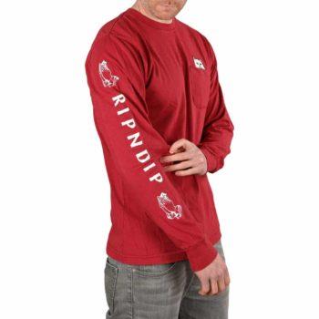 RIPNDIP Lord Nermal L/S Pocket T-Shirt - Burgundy