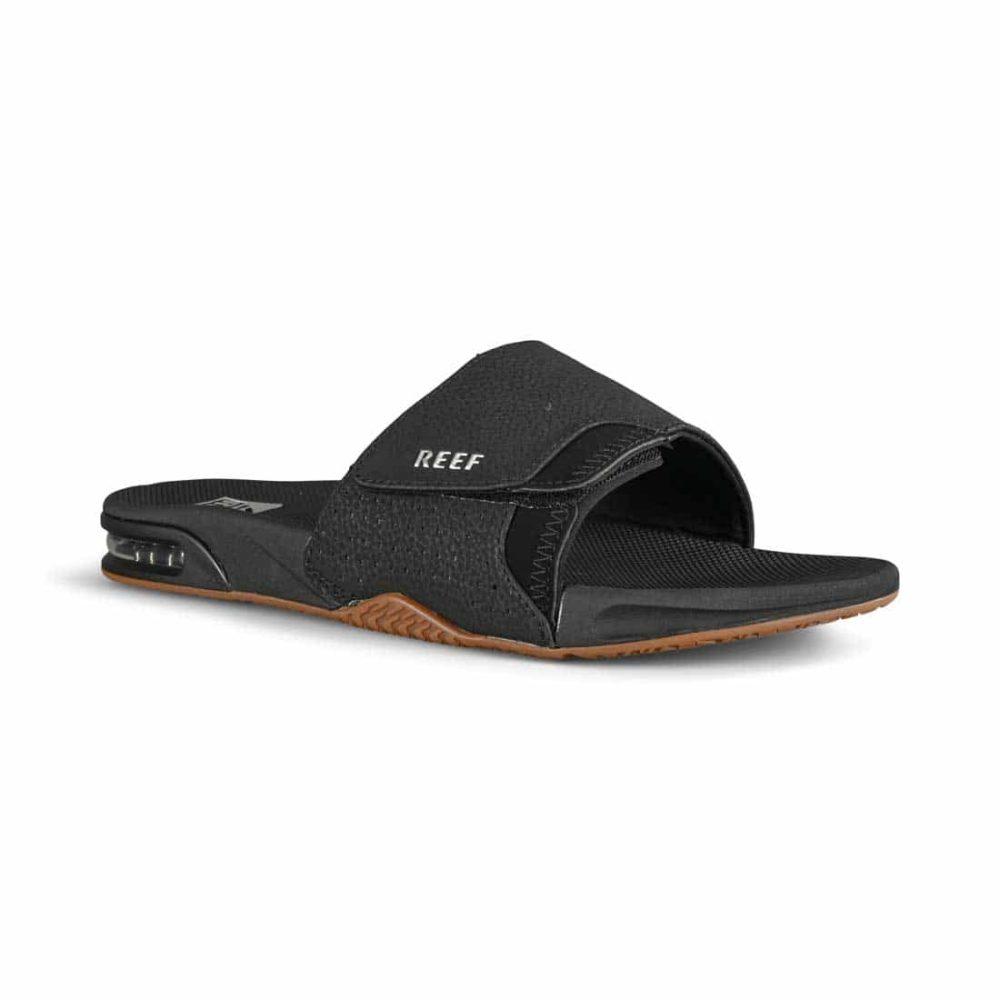 Reef Fanning Slide Sandals - Black / Silver