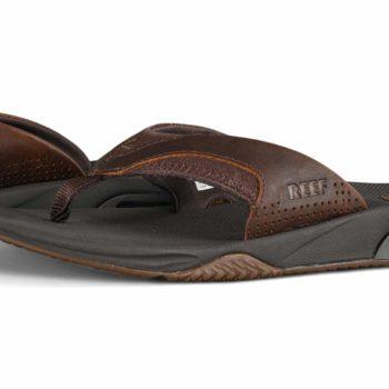 Reef Leather Fanning Sandals - Dark Brown