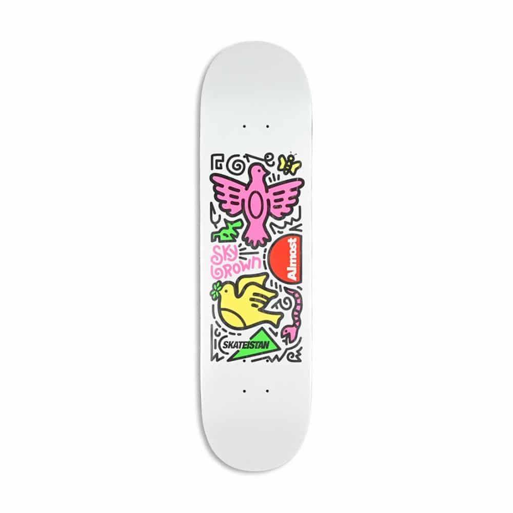 "Almost Skateistan Sky Brown Doodle R7 8"" Skateboard Deck - White"