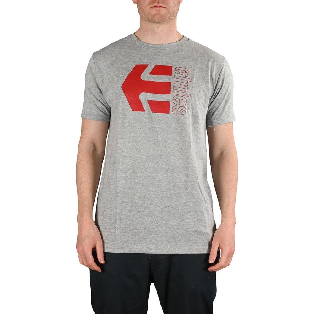 Etnies Corp Combo S/S T-Shirt - Grey/Red