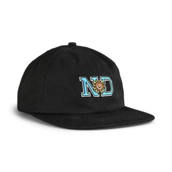 New Deal ND Unstructured 6 Panel Strapback Cap - Black