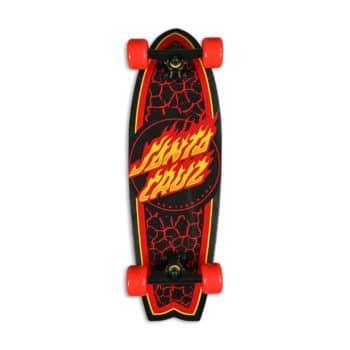 "Santa Cruz Flame Dot 27.7"" Cruiser Skateboard - Black/Red"