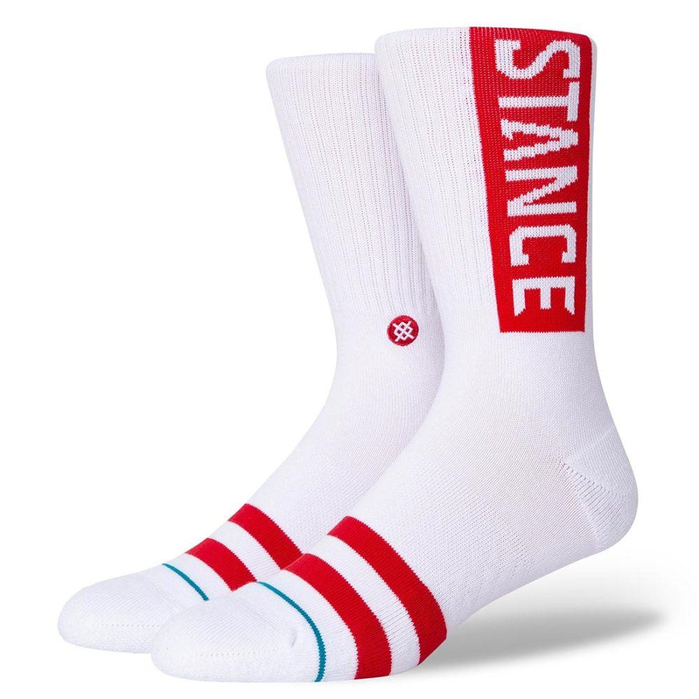 Stance OG Crew Socks - White/Red