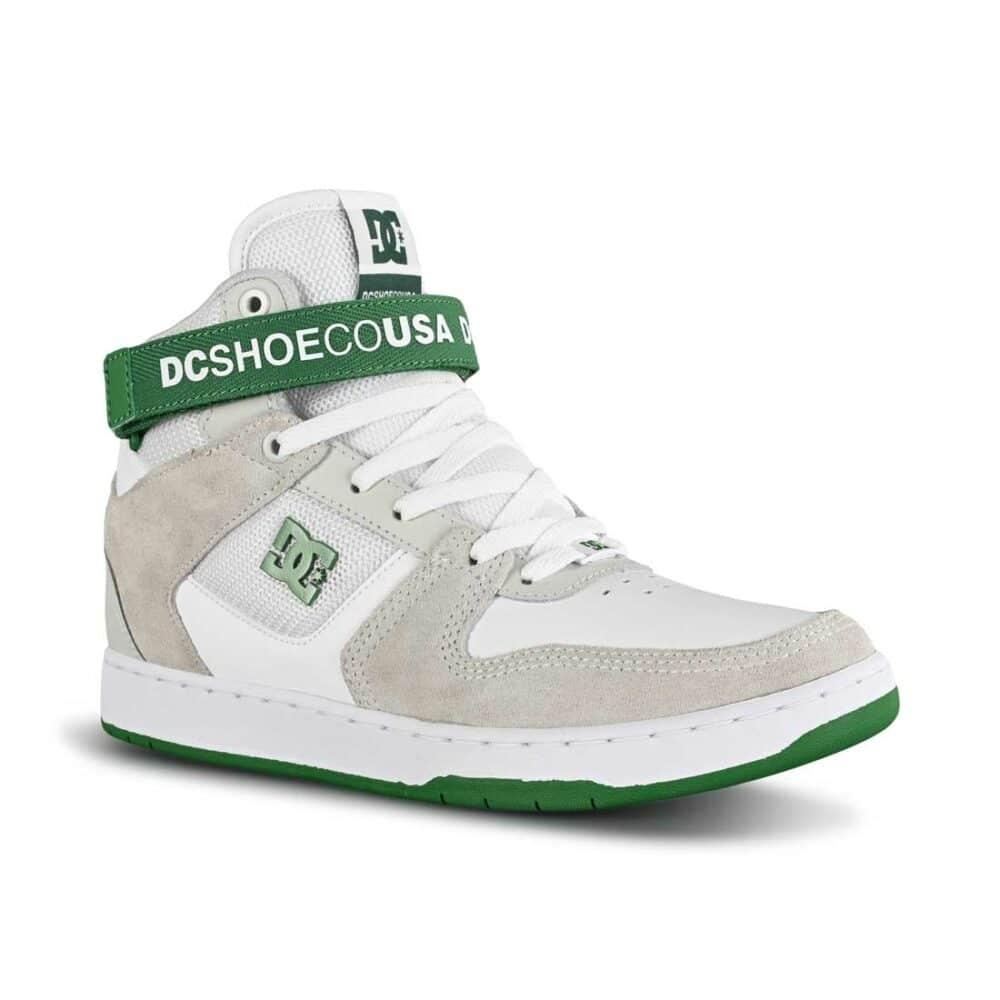 DC Pensford High-Top Skate Shoes - White/Grey/Green