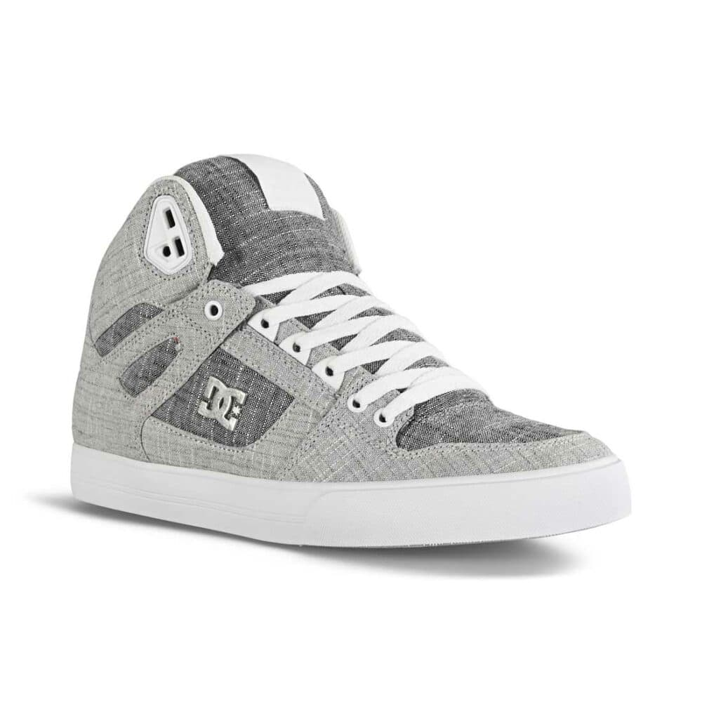 DC Pure High Top WC Skate Shoes - Grey/Grey/White