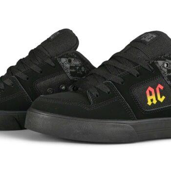 DC x AC/DC Pure Skate Shoes - Black/Dark Grey