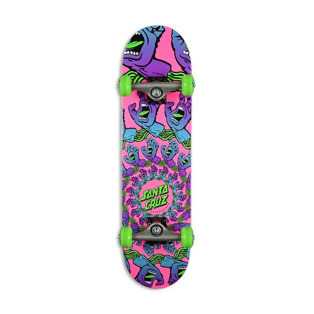 "Santa Cruz Mandala Hand Mini 7.75"" Complete Skateboard - Purple/Pink"