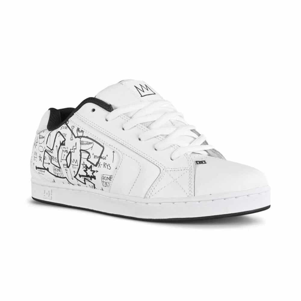 DC x Basquiat Net Skate Shoes - White/Black Print