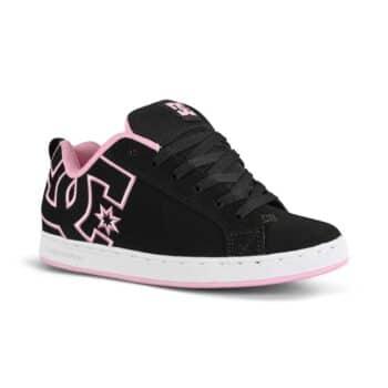 DC Women's Court Graffik Skate Shoes - Black/White/Pink